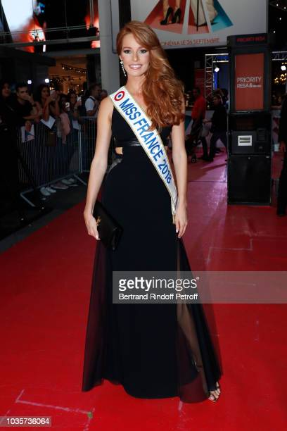 Miss France 2018 Maeva Coucke attends the L'Ombre d'Emily A Simple Favor Paris Premiere at Cinema UGC Normandie on September 18 2018 in Paris France