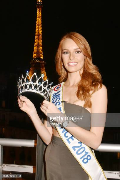Miss France 2018 Maeva Coucke poses with the Miss France 2019 crown during the Miss France 2019 Julien D'Orcel Crown Unveiling Cocktail at Rooftop...