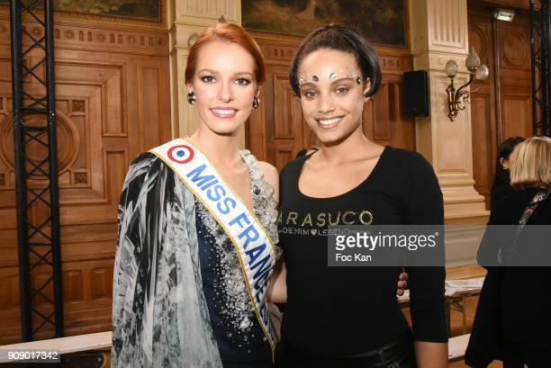 Miss France 2018 Maeva Couke and Miss France 2017 Alicia Aylies attend the On Aura Tout Vu Haute Couture Spring Summer 2018 show as part of Paris...