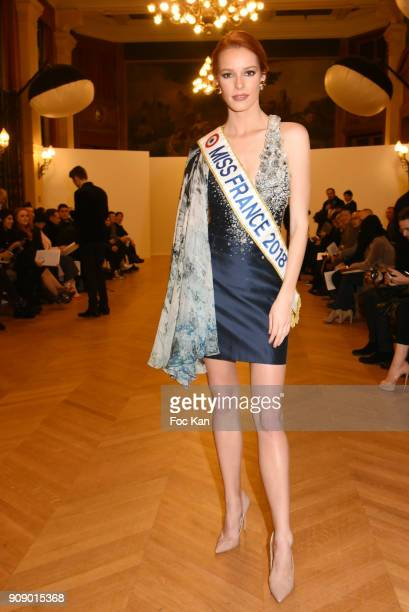 Miss France 2018 Maeva Couke attends the On Aura Tout Vu Haute Couture Spring Summer 2018 show as part of Paris Fashion Week on January 22 2018 in...