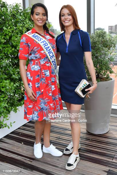 Miss France 2019 Vaimalama Chaves and Miss France 2018 Maeva Coucke attend the 2019 French Tennis Open Day Ten at Roland Garros on June 04 2019 in...
