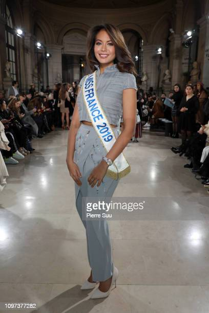 Miss France 2019 Vaimalama Chaves attends the Tony Ward Haute Couture Spring Summer 2019 show as part of Paris Fashion Week on January 21 2019 in...