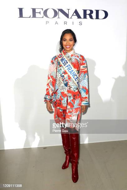 Miss France 2020 Clemence Botino attends the Leonard Paris show as part of the Paris Fashion Week Womenswear Fall/Winter 2020/2021 on February 27,...