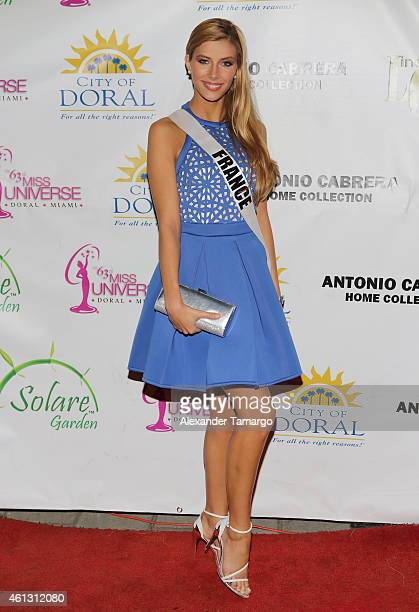 Miss France Camille Cerf arrives at Solare Garden in preparation for the 63rd Annual Miss Universe Pageant on January 10 2015 in Doral Florida