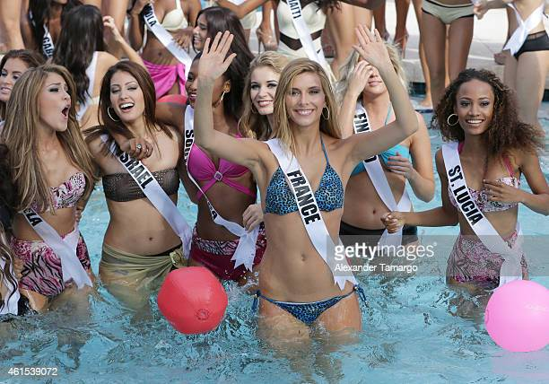 Miss France Camille Cerf participates in Miss Universe Yamamay Swimsuit Runway Show at Trump National Doral on January 14 2015 in Doral Florida