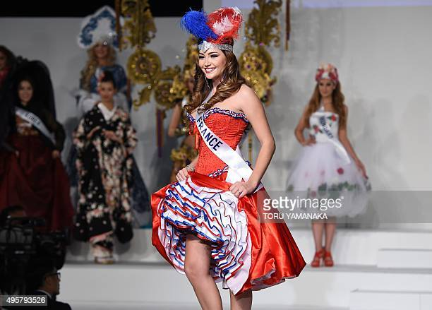 Miss France Charlotte Pirroni displays her national costume during the Miss International beauty pageant in Tokyo on November 5 2015 Representatives...