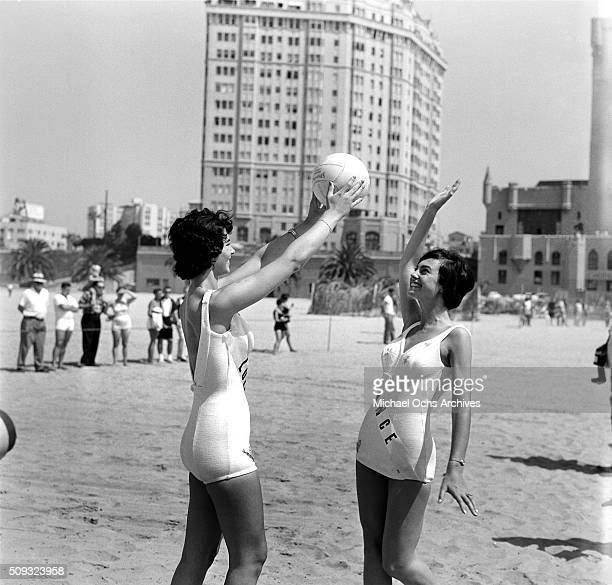 Miss France Francoise SaintLaurent 1959 Miss Universe Contestant plays on the beach before the pageant in Long Beach California