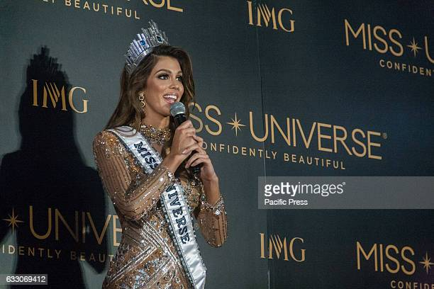 Miss France Iris Mittenaere the new Miss Universe during her first press conference at the Miss Universe Media center in Pasay City