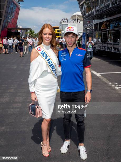 Miss France Maeva Coucke and French driver Pierre Gasly attend the Formula One Grand Prix of France at Circuit Paul Ricard on June 24 2018 in Le...