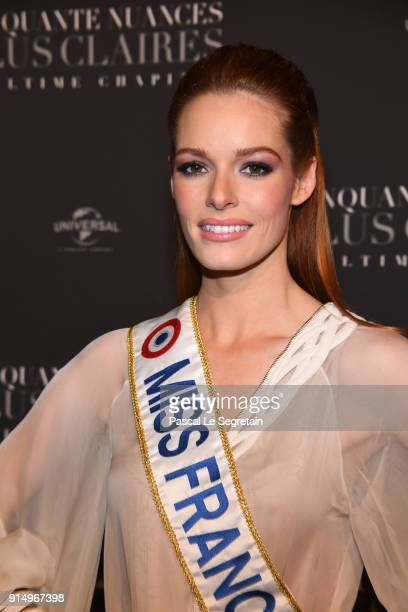Miss France Maeva Coucke attends 'Fifty Shades Freed 50 Nuances Plus Claires' Premiere at Salle Pleyel on February 6 2018 in Paris France