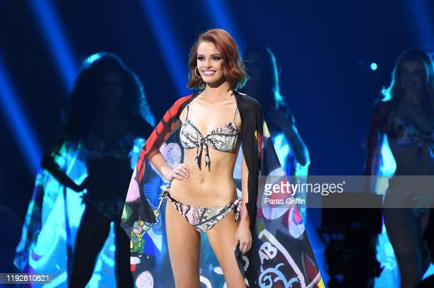 Miss France Maëva Coucke competes in the swimsuit competition during the 2019 Miss Universe Pageant at Tyler Perry Studios on December 08 2019 in...