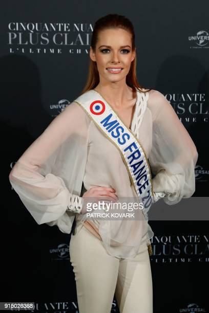 Miss France Maëva Coucke poses as she arrives to attend 'Fifty Shades Freed 50 Nuances Plus Claires' Premiere at Salle Pleyel in Paris on February 6...