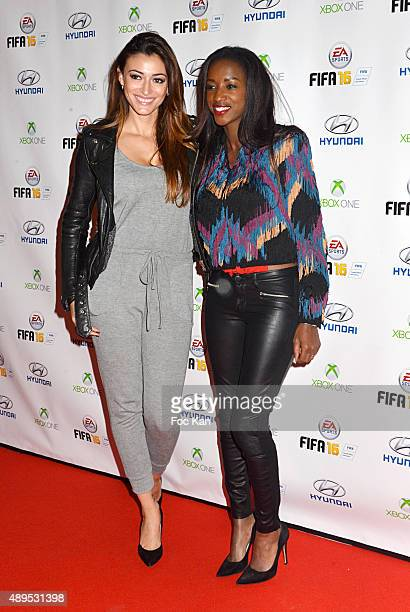 Miss France Rachel Legrain Trapani and Hapsatou Sy attend the 'FIFA 16 Live Event' at the Faust Club on September 21 2015 in Paris France