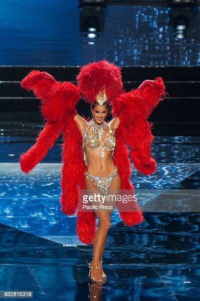 Miss France shows off her national costume at the Arena in Pasay City Candidates from different countries showed off their national costumes during...