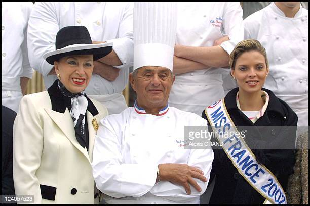 Miss France Sylvie Tellier back in Lyon France on January 17 2002 Mrs de Fontenoy Chef Paul Bocuse and Miss France