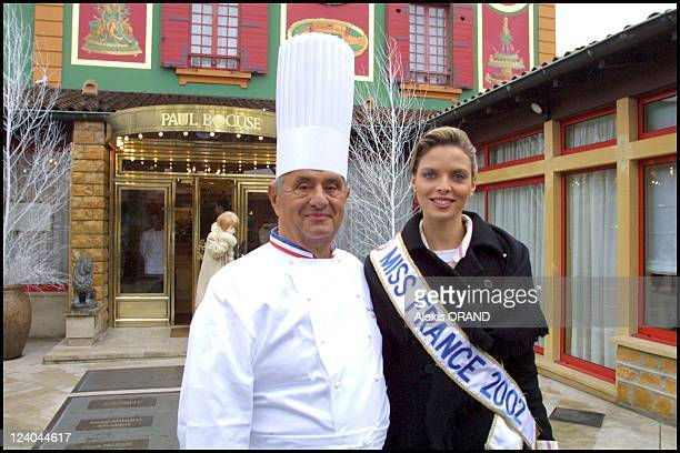Miss France Sylvie Tellier back in Lyon France on January 17 2002 Chef Paul Bocuse and Miss France