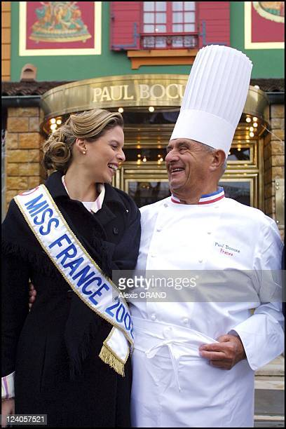 Miss France Sylvie Tellier back in Lyon France on January 17 2002 Miss France and chef Paul Bocuse