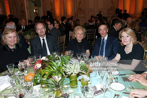 Miss Francois Pinault Academician JeanMarie Rouart Bernadette Chirac JeanPaul Claverie and President of the Versailles Castle Catherine Pegard attend...