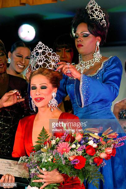 Miss Gay Pennsylvania USofA 2004 Angela Carrera is crowned by Miss Gay Pennsylvania USofA 2003 Breyannah Allure during the 12th Annual Miss Gay...
