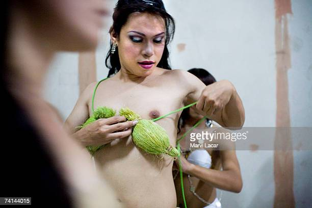 Miss Gay Sandugo beauty pageant emcee Katrina Halili prepares for the show July 19 2006 in Tagbilaran Philippines Miss Gay beauty pageants are...