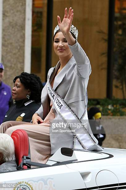 Miss Georgia DeAnna Johnson rides in the Peach Bowl Parade before the College Football Playoff Semifinal at the ChickfilA Peach Bowl between the...