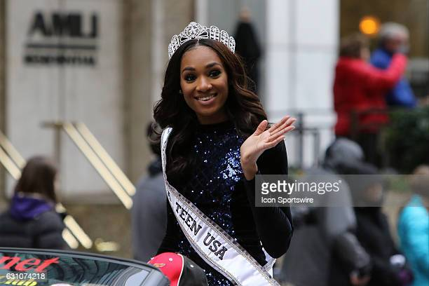 Miss Georgia Teen USA Taylor Ward rides in the Peach Bowl Parade before the College Football Playoff Semifinal at the ChickfilA Peach Bowl between...