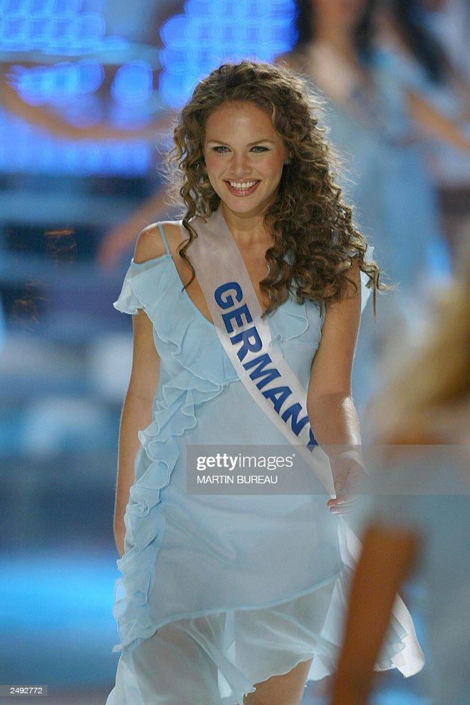 Miss Germany 2003 Alexandra Vodjanikova walks on stage