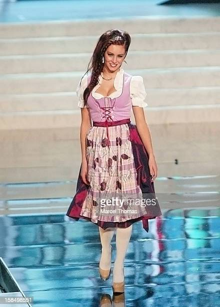 Miss Germany Alicia Endemann displays her national costume at the 2012 Miss Universe National Costume event at Planet Hollywood Casino Resort on...