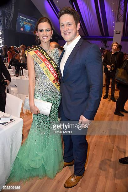 Miss Germany Lena Broeder and Matthias Steiner pose during the Radio Regenbogen Award 2016 After Show Party on April 22, 2016 in Rust, Germany.