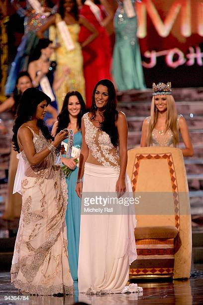 Miss Gibraltar Kaiane Aldorino is crowned Miss World 2009 by Miss World 2008 Kseniya Shipilova with runner up Miss Mexica Perla Beltran Acosta at...