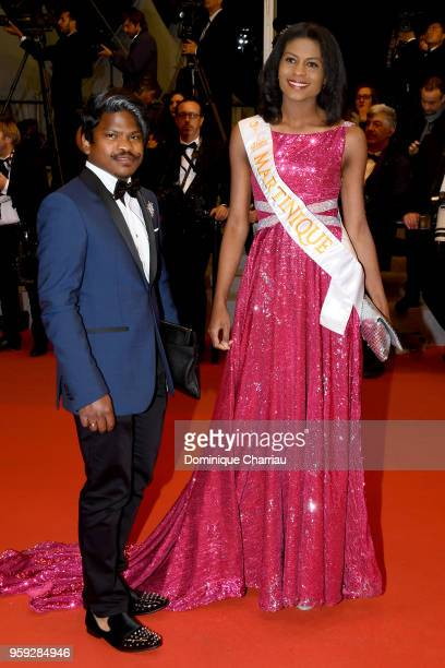 Miss Global Martinique Nathanaelle Audel and guest attend the screening of 'Dogman' during the 71st annual Cannes Film Festival at Palais des...