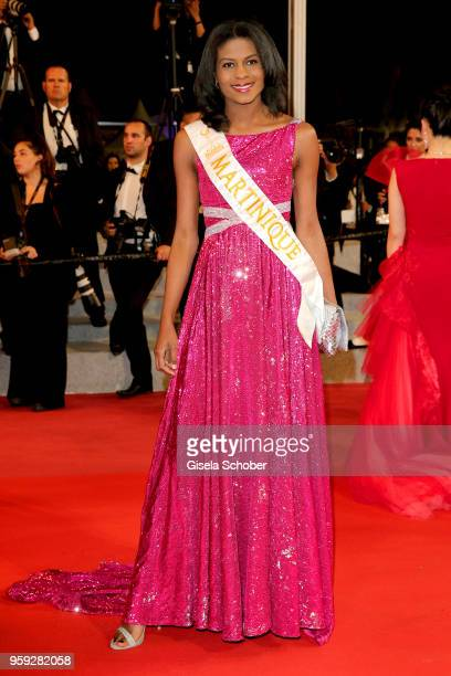 Miss Global Martinique Nathanaelle Audel attends the screening of 'Dogman' during the 71st annual Cannes Film Festival at Palais des Festivals on May...