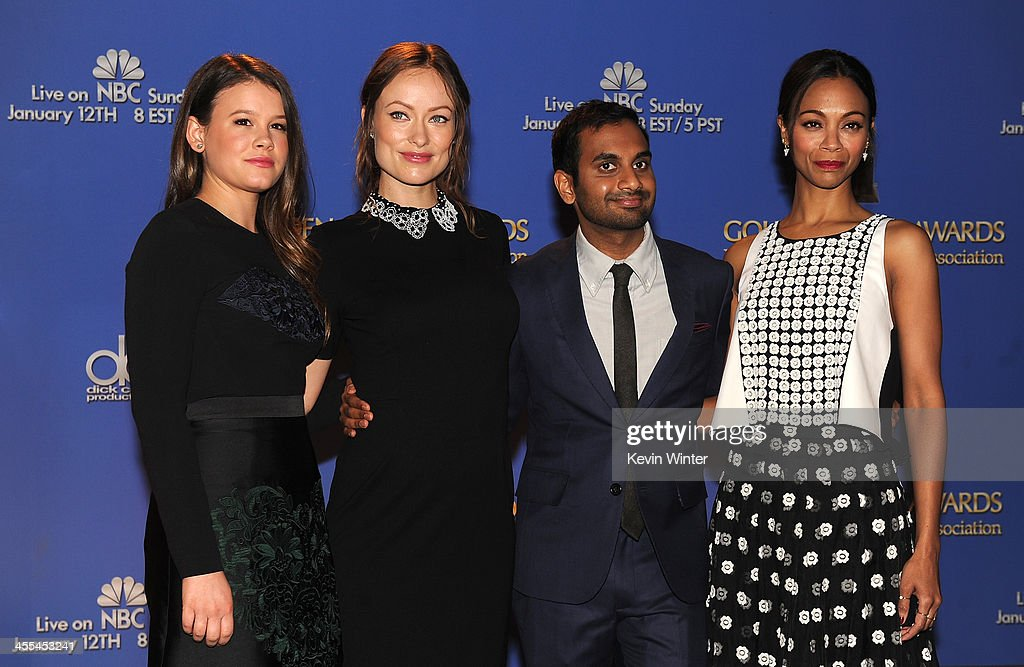 Miss Golden Globe 2014 Sosie Bacon, actors Olivia Wilde, Aziz Ansari and Zoe Saldana stand onstage at the 71st Golden Globe Awards Nominations Announcement at The Beverly Hilton Hotel on December 12, 2013 in Beverly Hills, California.