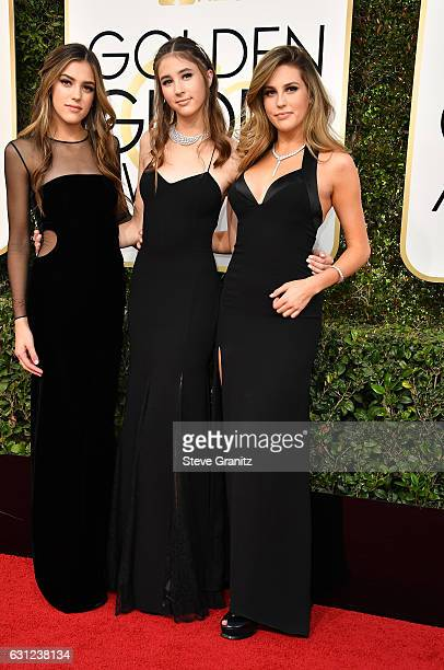 Miss Golden Globe 2017 Sistine Stallone Scarlet Stallone and Sophia Stallone attends the 74th Annual Golden Globe Awards at The Beverly Hilton Hotel...