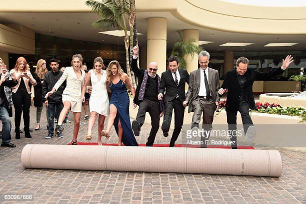 Miss Golden Globe 2017 Sophia Stallone Sistine Stallone Scarlett Stallone HFPA President Lorenzo Soria host Jimmy Fallon Executive Producer Allen...