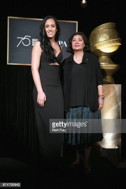 Miss Golden Globe 2018 Simone Alexandra Johnson and HFPA President Meher Tatna attend the press conference for the Hollywood Foreign Press...