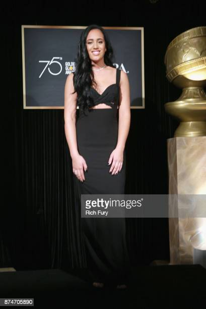Miss Golden Globe 2018 Simone Alexandra Johnson attends the press conference for the Hollywood Foreign Press Association and InStyle celebrate the...