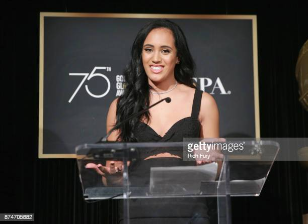 Miss Golden Globe 2018 Simone Alexandra Johnson speaks onstage during the press conference for the Hollywood Foreign Press Association and InStyle...
