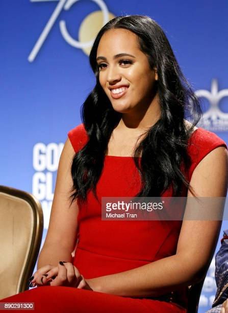 Miss Golden Globes Simone Johnson attends the 75th Annual Golden Globe Nominations Announcement held at The Beverly Hilton on December 11 2017 in Los...