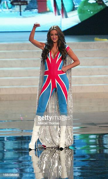 Miss Great Britain Holly Hale displays her national costume at the 2012 Miss Universe National Costume event at Planet Hollywood Casino Resort on...