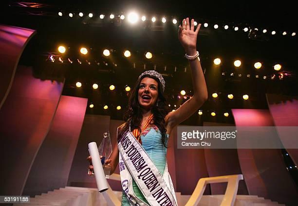 Miss Greece Nikoletta Ralli celebrates after winning the Miss Tourism Queen International 2005 Final on July 2 2005 in Hangzhou Zhejiang Province of...
