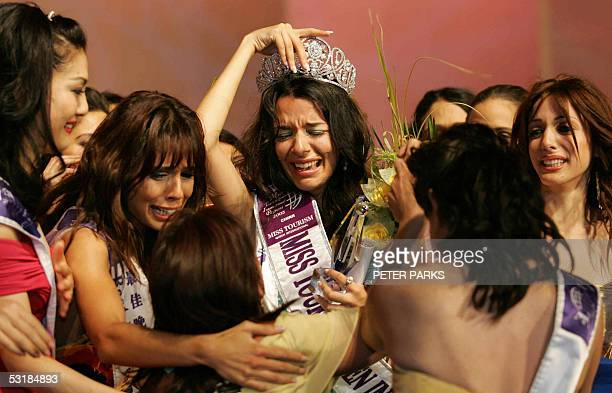 Miss Greece Nikoletta Ralli cries after being crowned Miss Tourism Queen International 2005 at the World Finals in Hangzhou China 02 July 2005 1st...