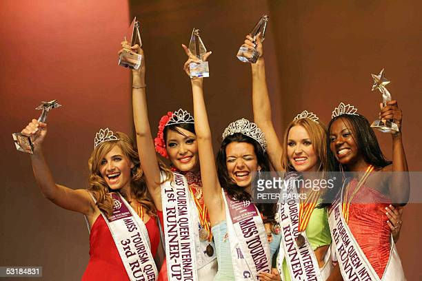 Miss Greece Nikoletta Ralli jubilates after being crowned Miss Tourism Queen International 2005 at the World Finals in Hangzhou China 02 July 2005...
