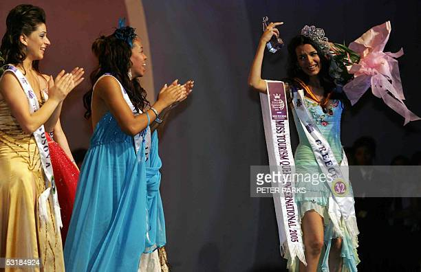 Miss Greece Nikoletta Ralli nearly loses her crown after being crowned Miss Tourism Queen International 2005 at the World Finals in Hangzhou China 02...