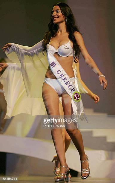 Miss Greece Nikoletta Ralli parades in a bikini during the Miss Tourism Queen International 2005 World Finals in Hangzhou 02 July 2005 Ralli was...