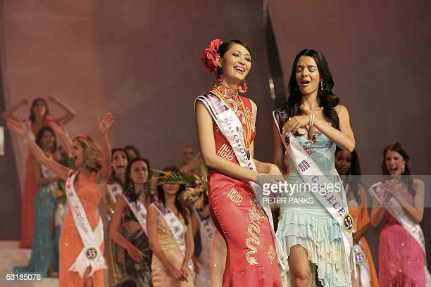Miss Greece Nikoletta Ralli reacts after being announced Miss Tourism Queen International 2005 as Miss China Sun Jia looks on at the World Finals in...