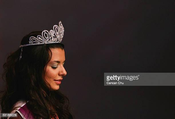 Miss Greece Nikoletta Ralli wears a crown after winning the Miss Tourism Queen International 2005 Final on July 2 2005 in Hangzhou Zhejiang Province...