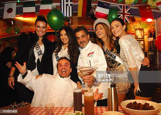 Miss Greece Vasiliki Tsirogianni Miss Cypress Ioanna Yiannakou Chef Stuart Leitner Miss Albania Adrola Dushi and Miss Kosovo Diana Avdiu appear at...