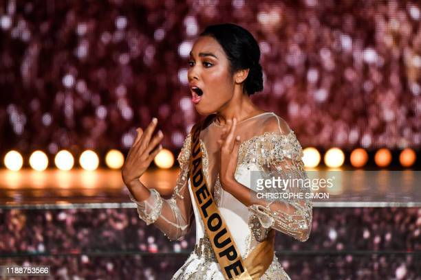 Miss Guadeloupe reacts as she is elected Miss France 2020 at the end of the Miss France 2020 beauty contest in Marseille, on December 14, 2019. /...