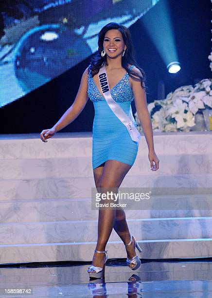 Miss Guam 2012, Alyssa Cruz Aguero, is introduced during the 2012 Miss Universe Pageant at PH Live at Planet Hollywood Resort & Casino on December...